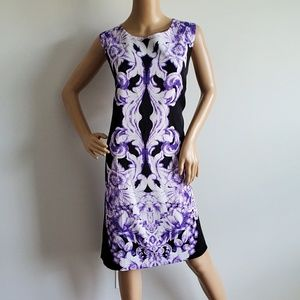VOIR VOIR BLACK AND PURPLE FLORAL DRESS 18